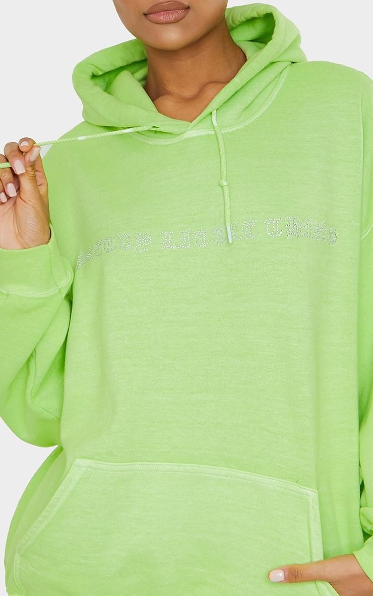PRETTYLITTLETHING Lime Diamante Slogan Hoodie 4