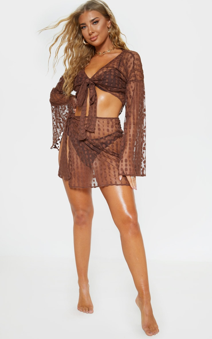 Chocolate Polka Dot Tie Beach Skirt 5