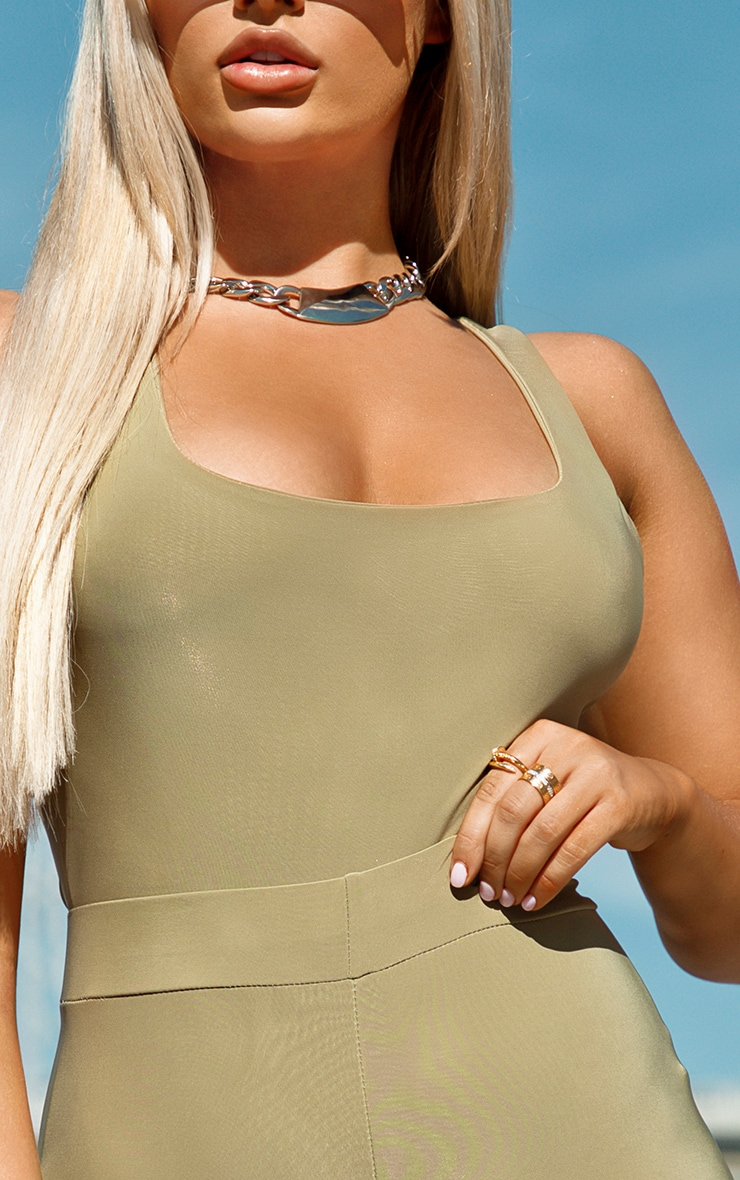 Khaki Slinky Square Neck Bodysuit 4