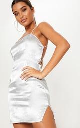 a4422c4bd7 Silver Satin Oriental Lace Up Back Bodycon Dress image 5