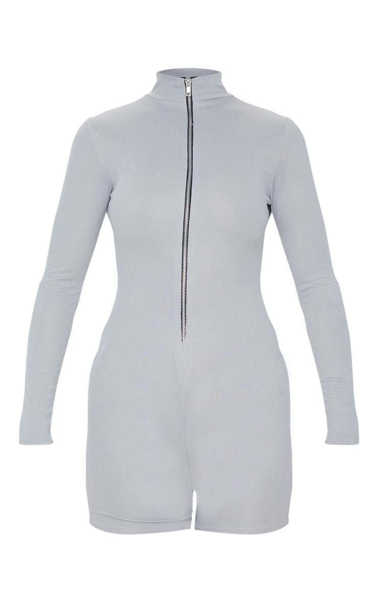 Grey Fine Rib Zip Detail Unitard 3