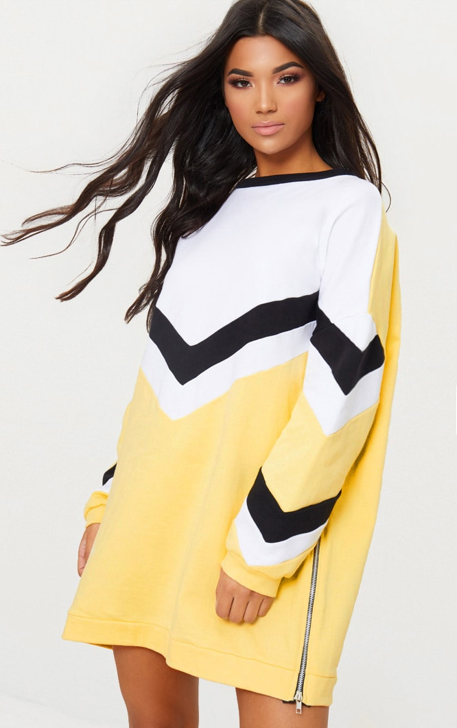 Lemon Chevron Oversized Jumper Dress 1