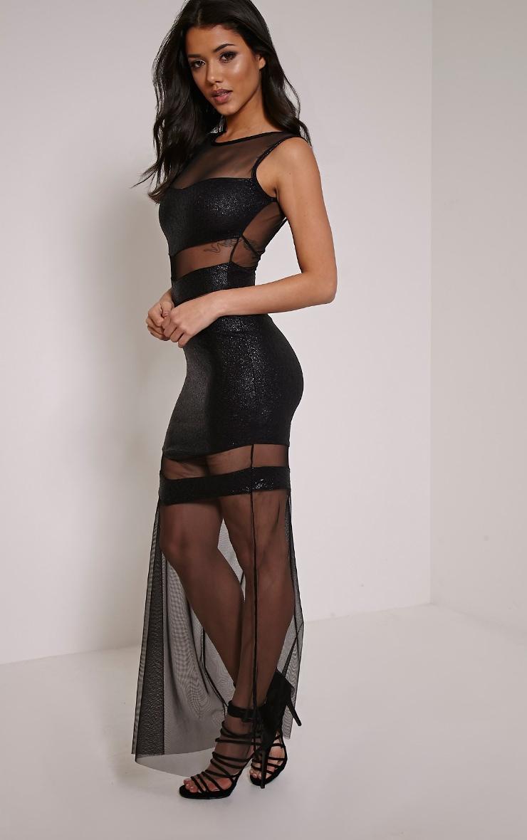 Tai Black Glitter Mesh Panel Maxi Dress 4