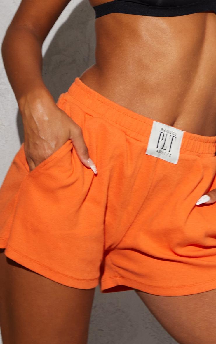 PRETTYLITTLETHING Orange Ribbed Lounge Shorts 5