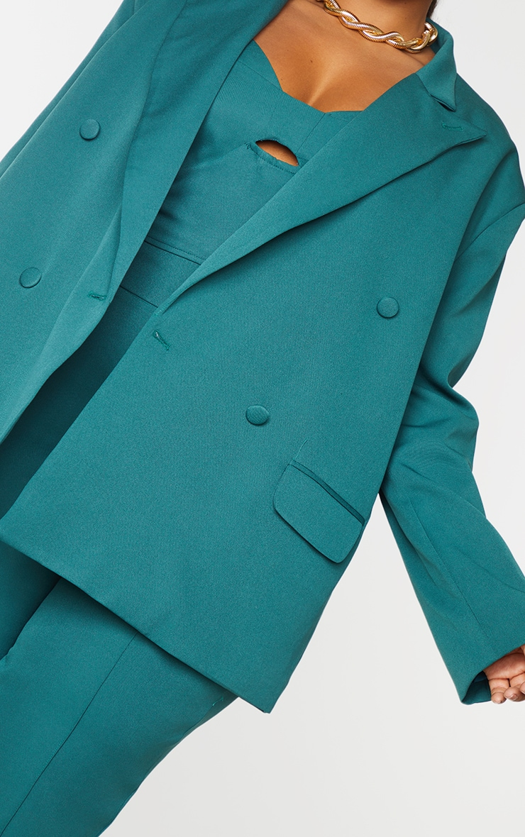 Plus Teal Double Breasted Oversized Blazer 4