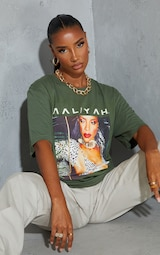 Khaki Aaliyah Printed T Shirt 4