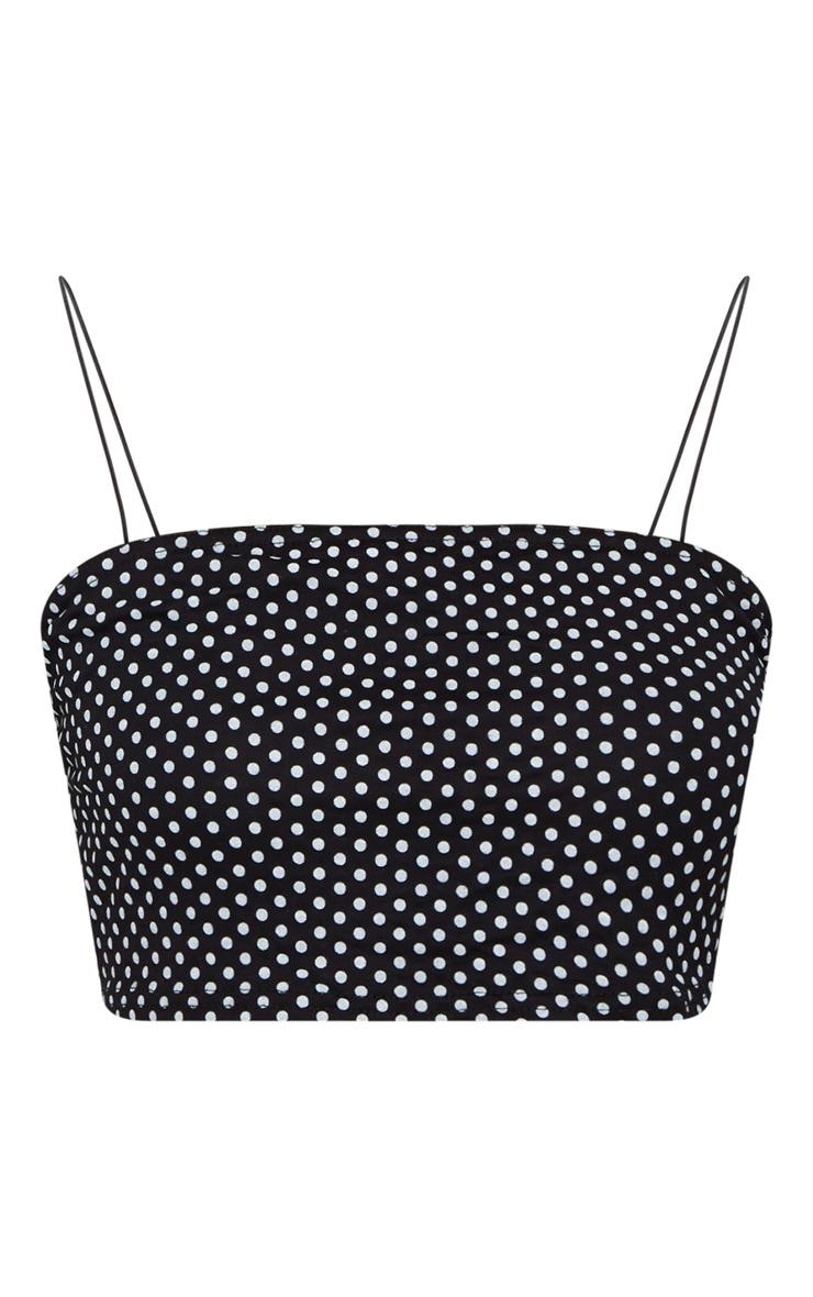 Black Polka Dot Spaghetti Strap Crop Top 3