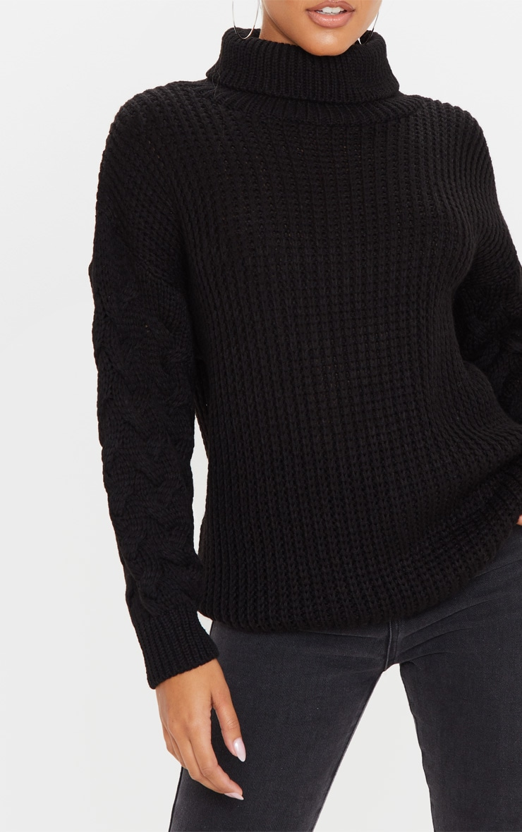 Black Chunky Knitted Cable Sleeve Sweater 5