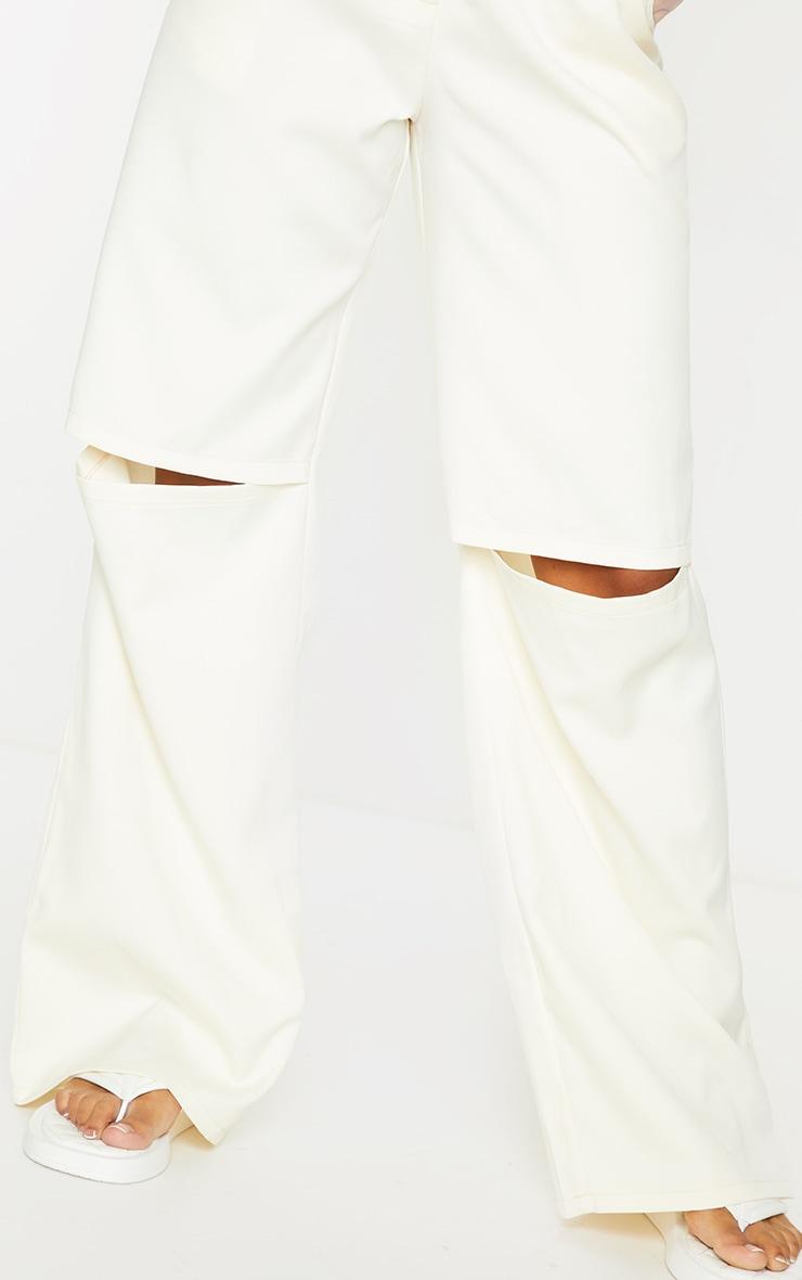 Cream Woven Knee Split Straight Leg Pants 4