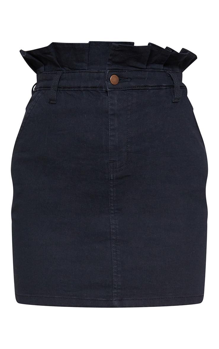 Jupe paperbag noire en jean à volants  3