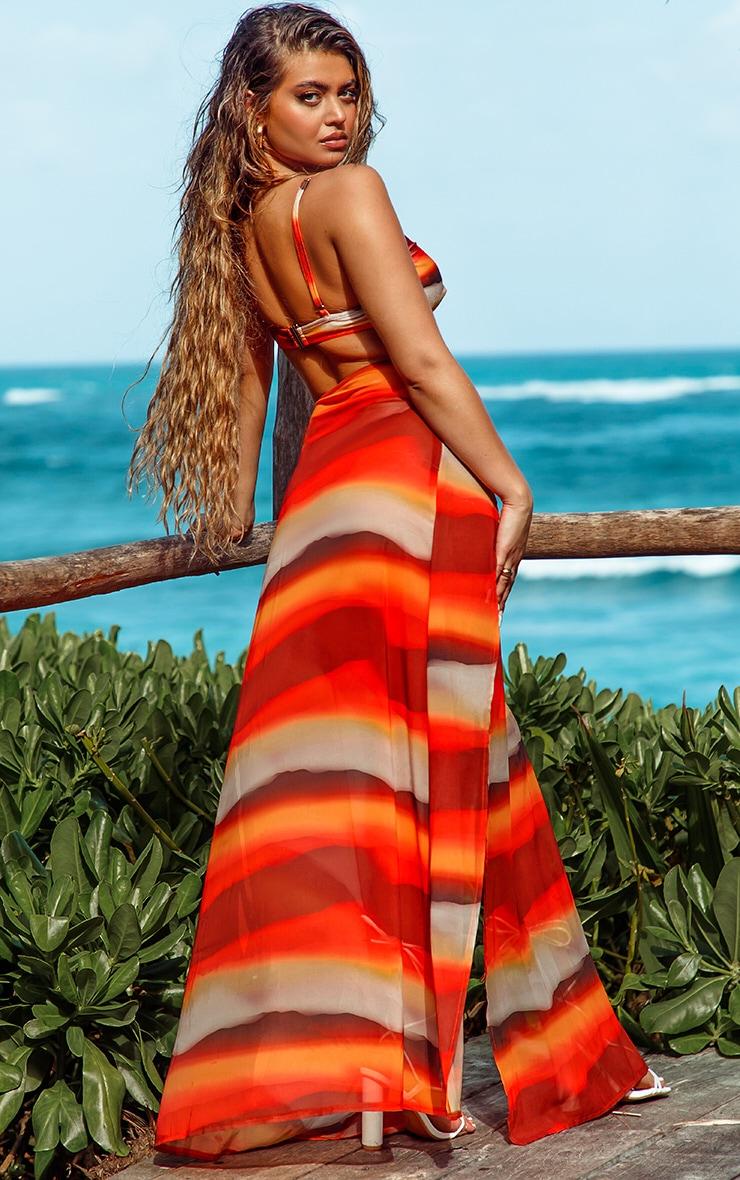 Orange Ombre Double Split Beach Maxi Skirt 2