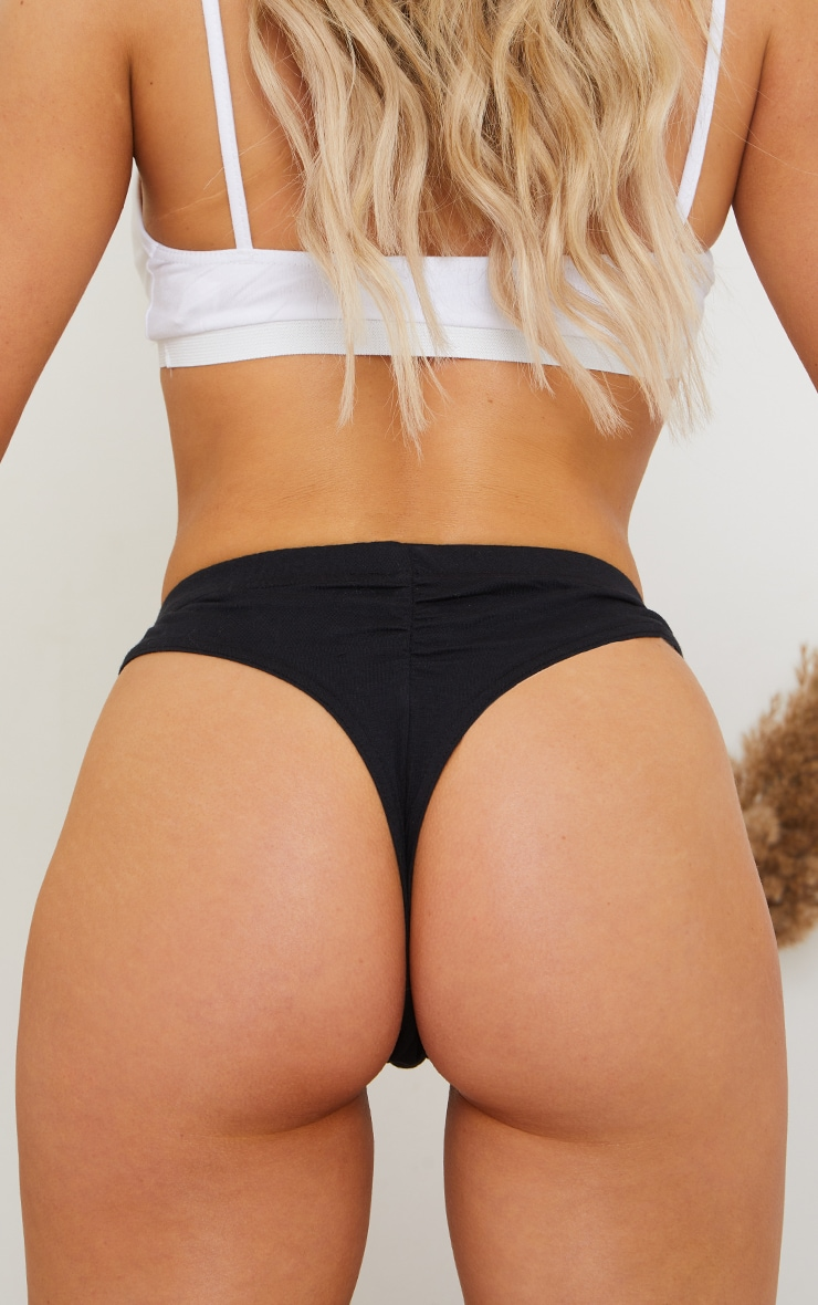 Multi Basic Cotton Ruched Bum Multipack Thongs 3