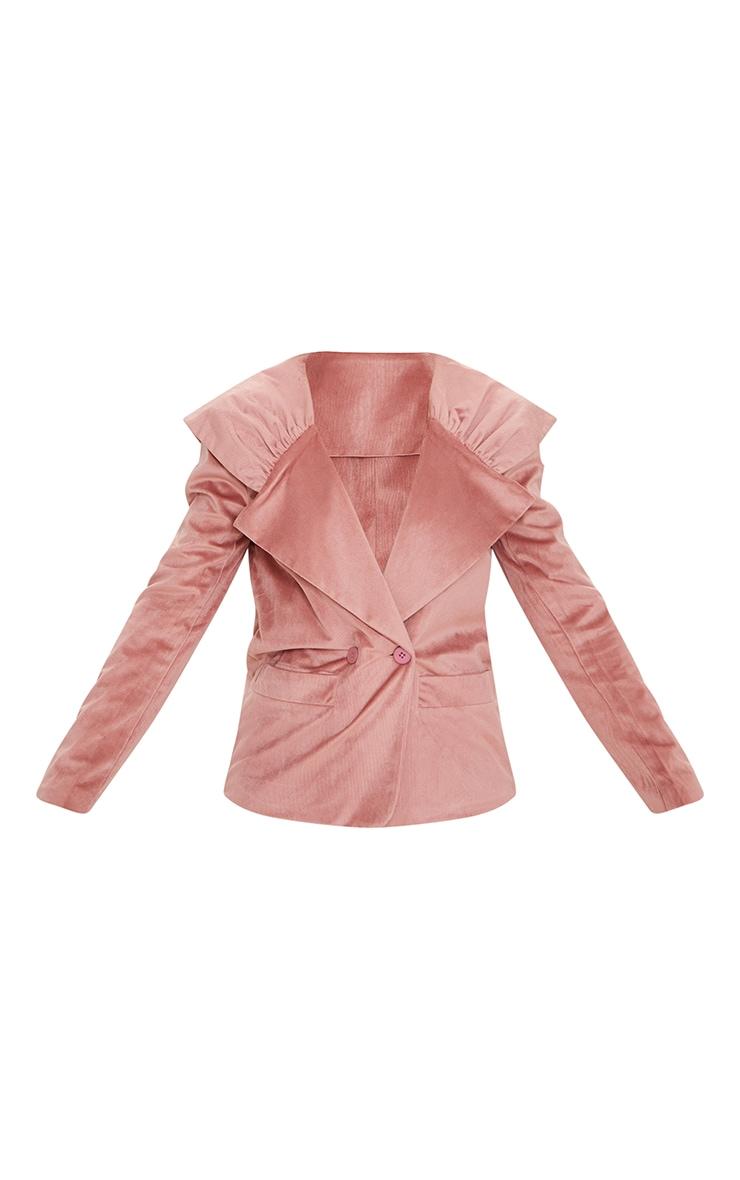 Pink Cord Pleated Shoulder Oversized Blazer 5