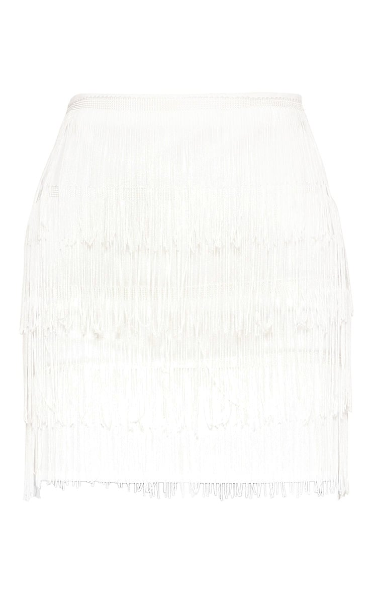 White Tiered Fringe Mini Skirt 3