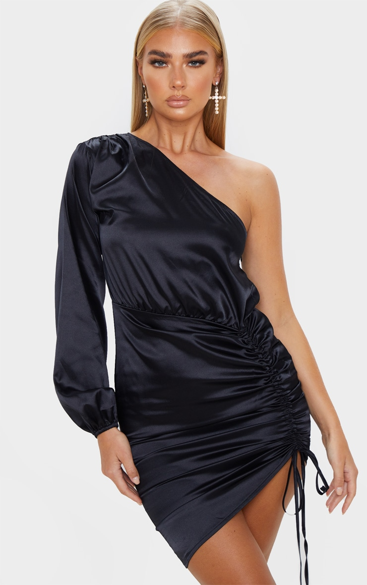 Black One Shoulder Ruched Satin Bodycon Dress 1