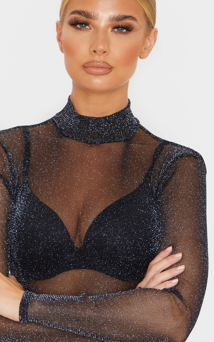 Black Sheer Glitter High Neck Bodysuit 6