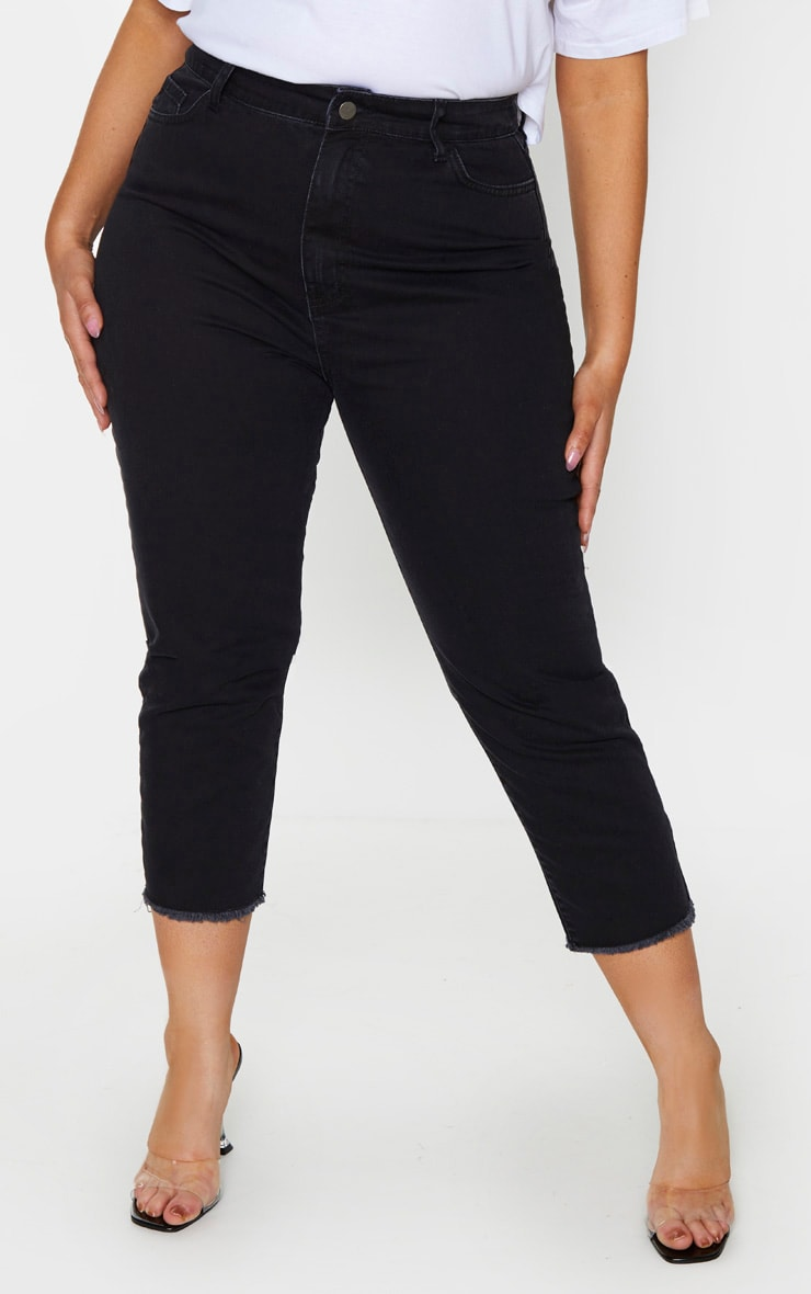 Plus Black Fray Hem Mom Jeans 2