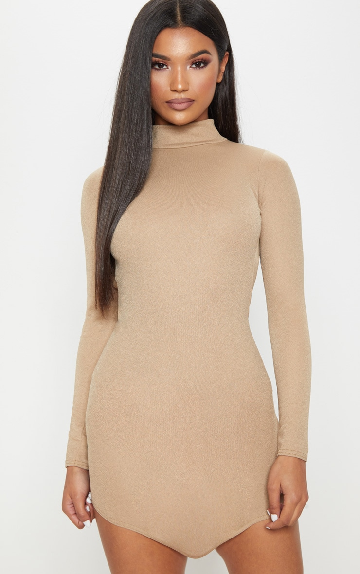 Taupe High Neck Extreme Scoop Back Pointy Hem Bodycon Dress 2