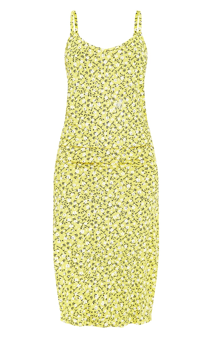 Yellow Ditsy Floral Jersey Split Midi Dress 6