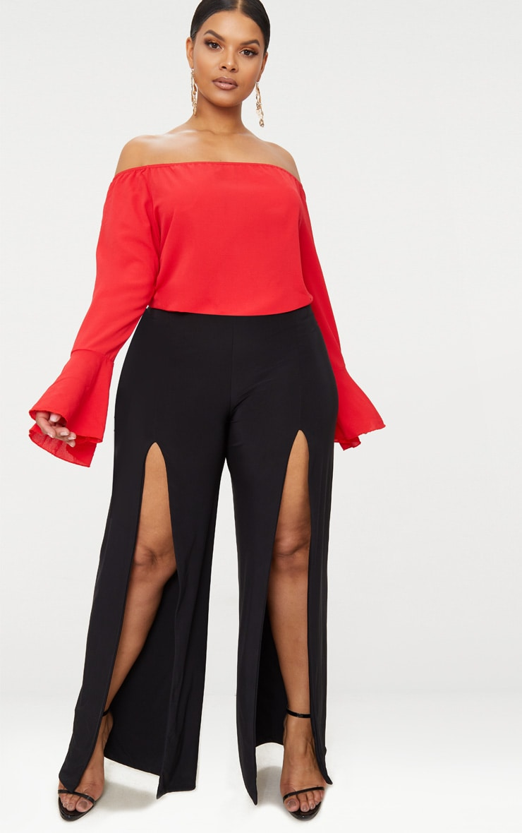 Plus Red Chiffon Bardot Long Sleeve Top 4