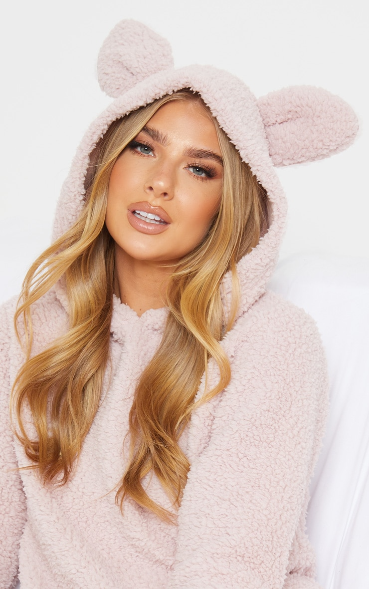 Light Pink Long Fluffy Teddy Twosie With Ears 5