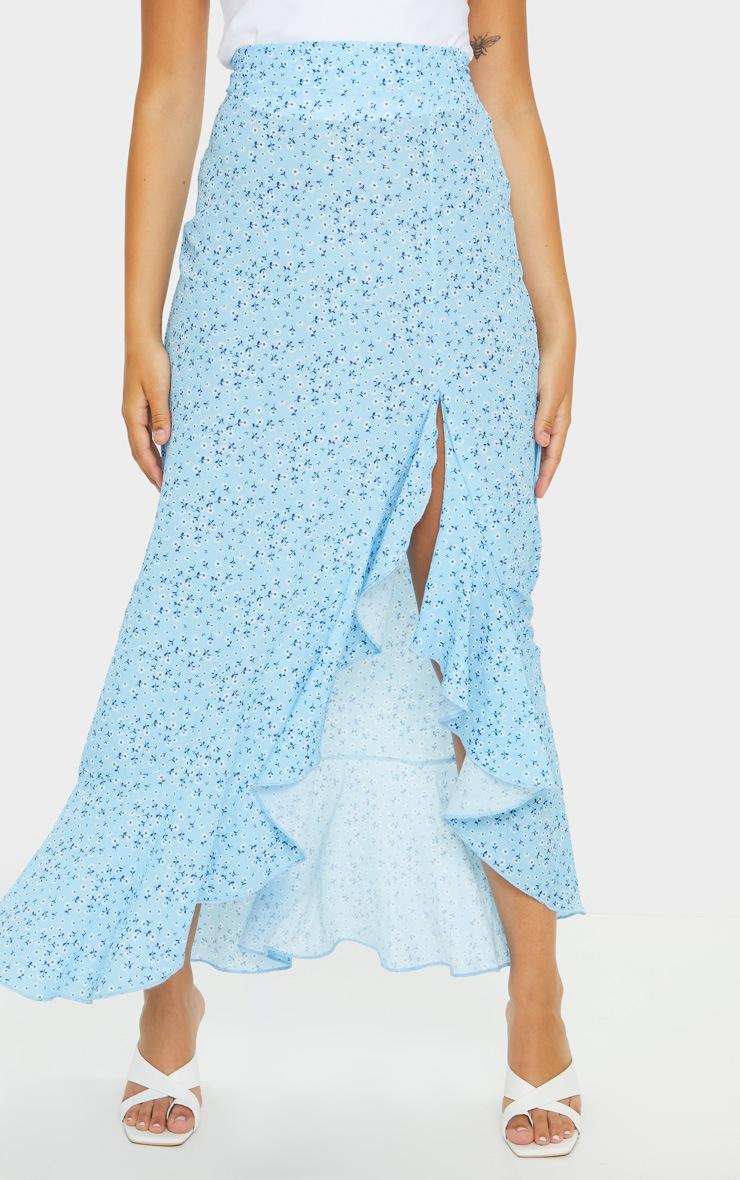 Blue Floral Frill Hem Wrap Maxi Skirt 2