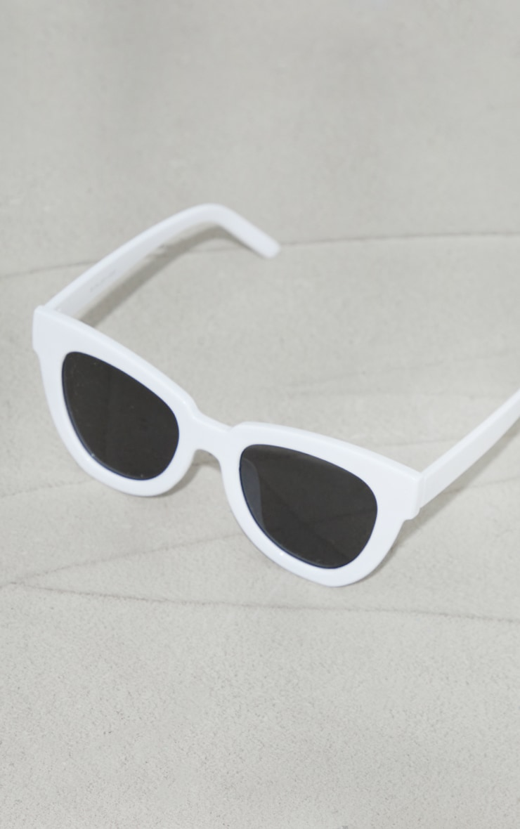 White Recycled Plastic Winged Sunglasses 2