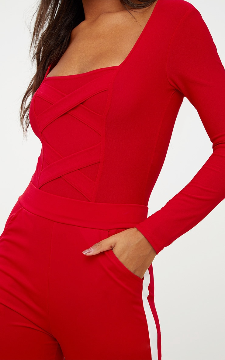 Red Crepe Cross Front Detail Thong Bodysuit 6