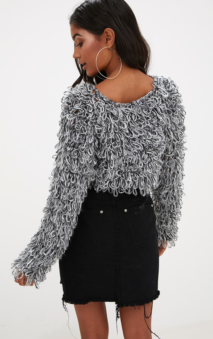 Grey Shaggy Knit Crop Jumper 2