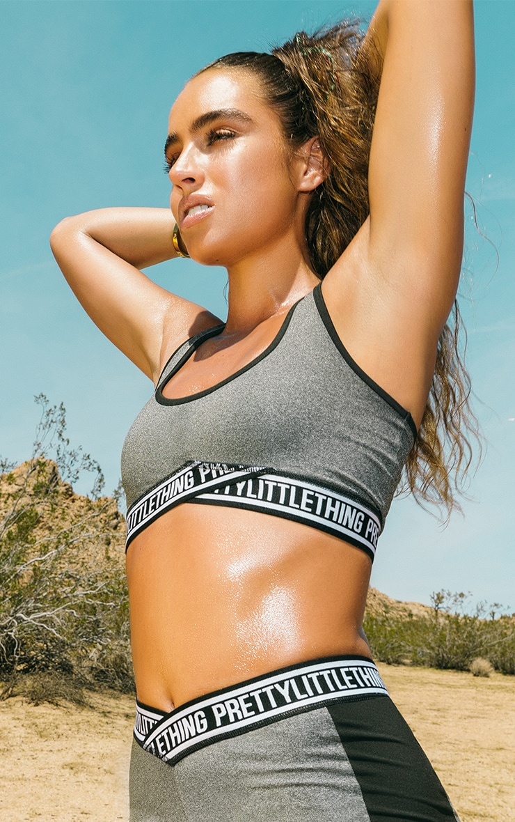 Charcoal Contrast Sports Crop Top