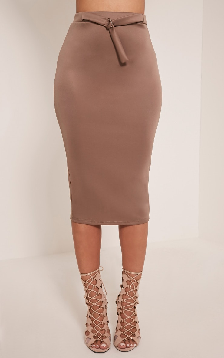Reyna Taupe D-Ring Belt Scuba Midi Skirt 2