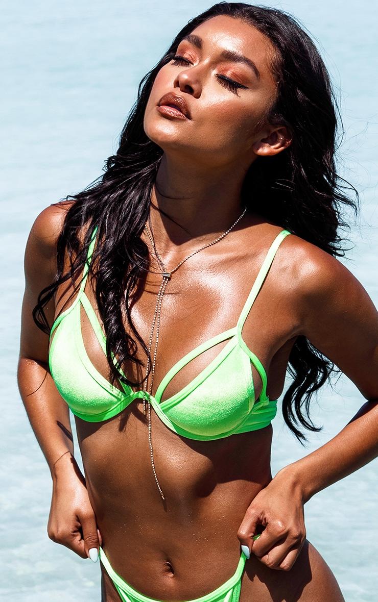 Neon Green Velvet Underwired Bikini Top 5