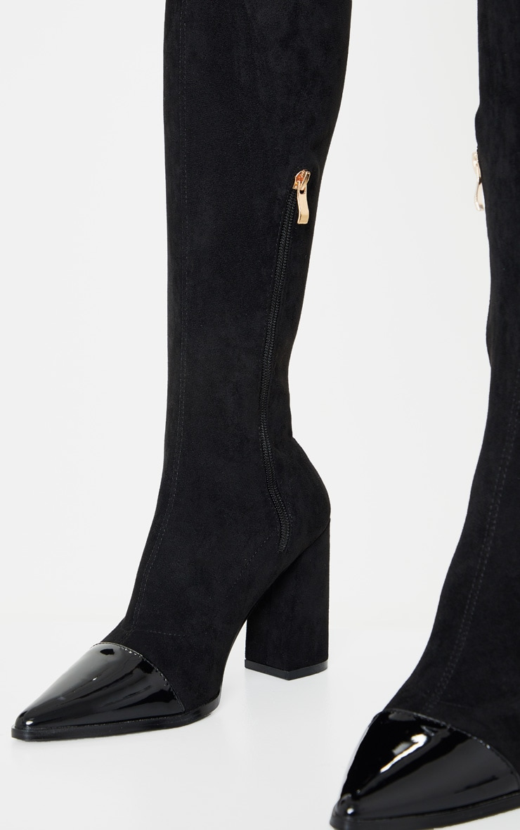 Black Block Heel Faux Suede Thigh High Sock Boot 4