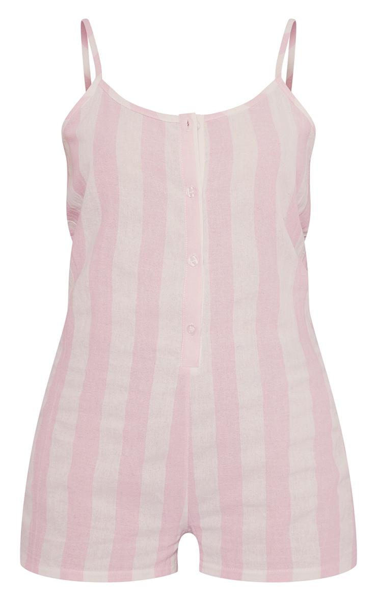Pink Wide Stripe Cotton Button Up Romper 5