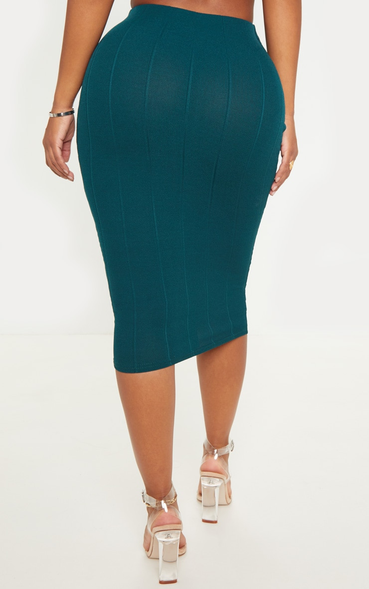 Shape Emerald Green Bandage Midi Skirt 4