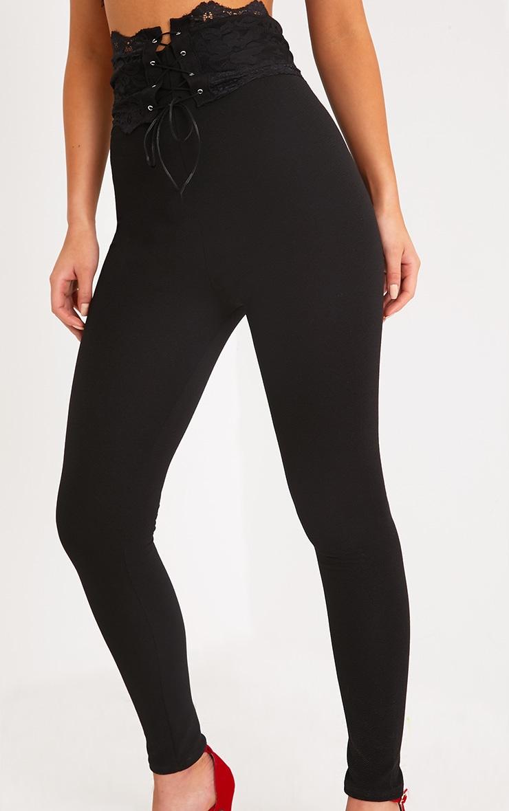 Azalea Black Lace Corset Waist Pants 5