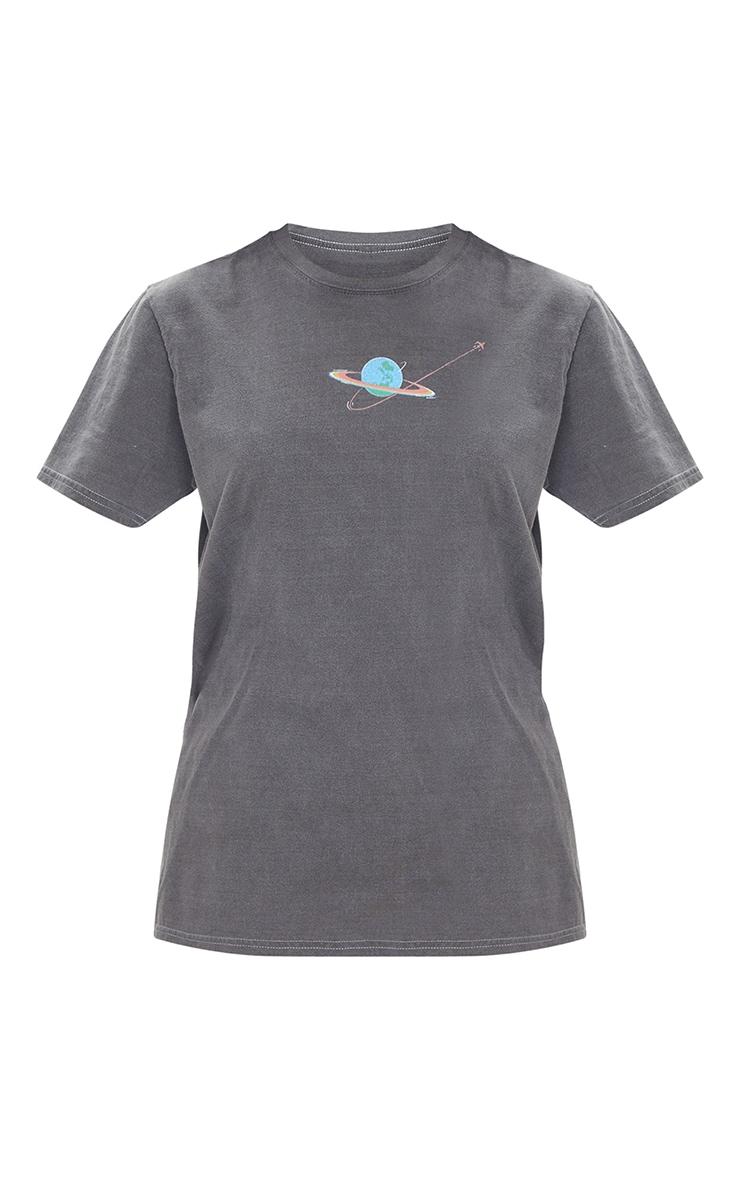 Grey Washed Pink Floyd Printed Tour T Shirt 5