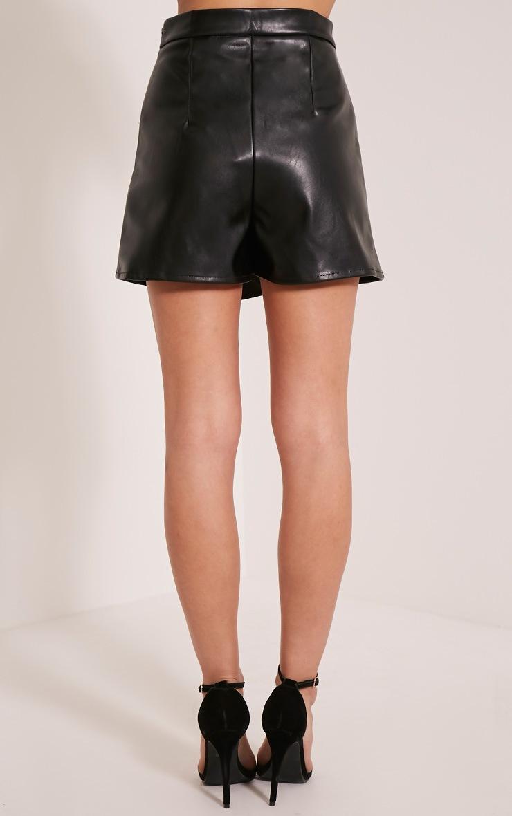 Chlo Black Faux Leather Skort 5