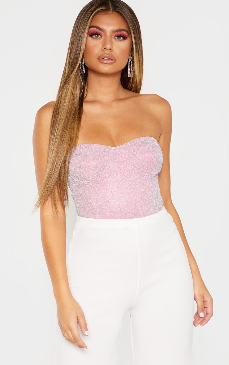 Pink Glitter Bandeau Cupped Bodysuit 1