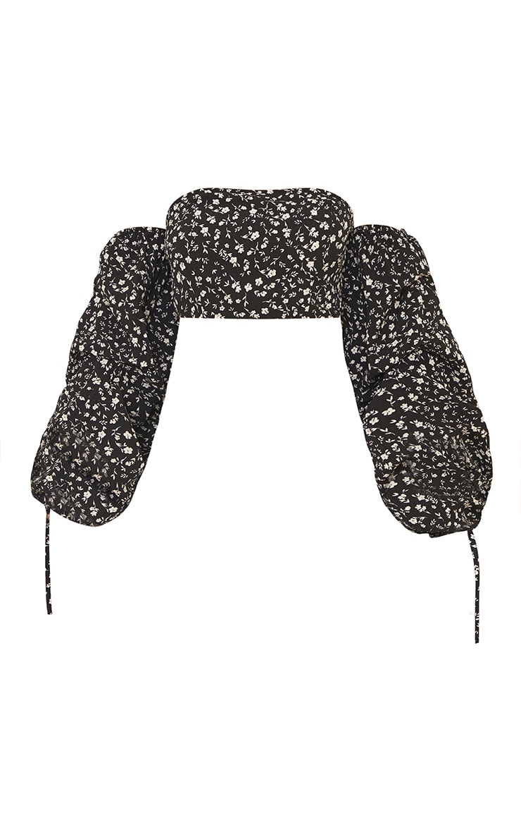 Black Ditsy Floral Printed Bardot Extreme Ruched Sleeve Crop Top 5