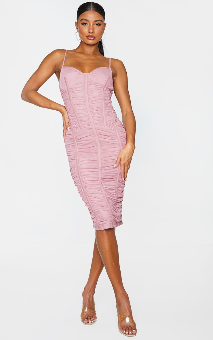 Mauve Mesh Ruched Binding Detail Strappy Midi Dress 1