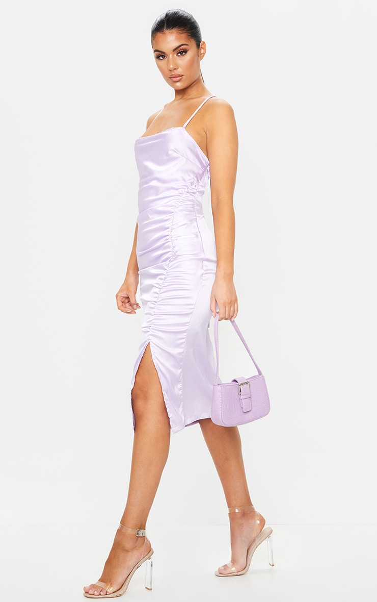 Lilac Satin Strappy Back Ruched Midi Dress 3