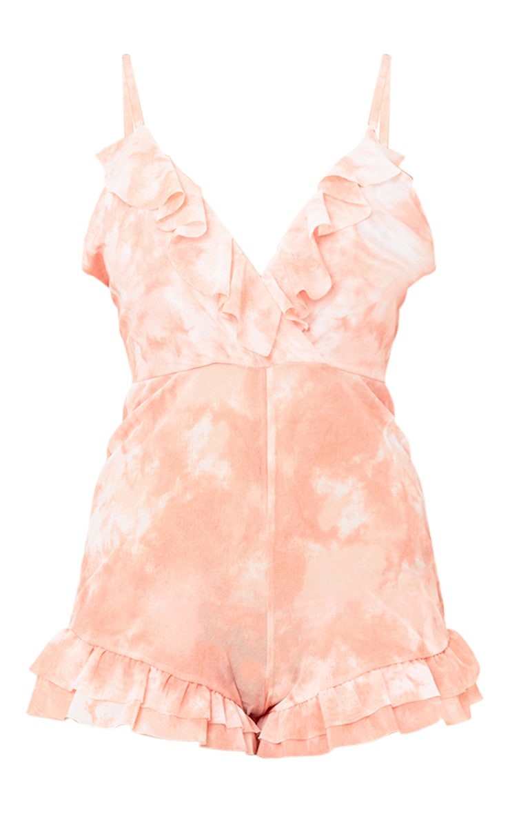 Peach Mesh Tie Dye Frill Playsuit 3