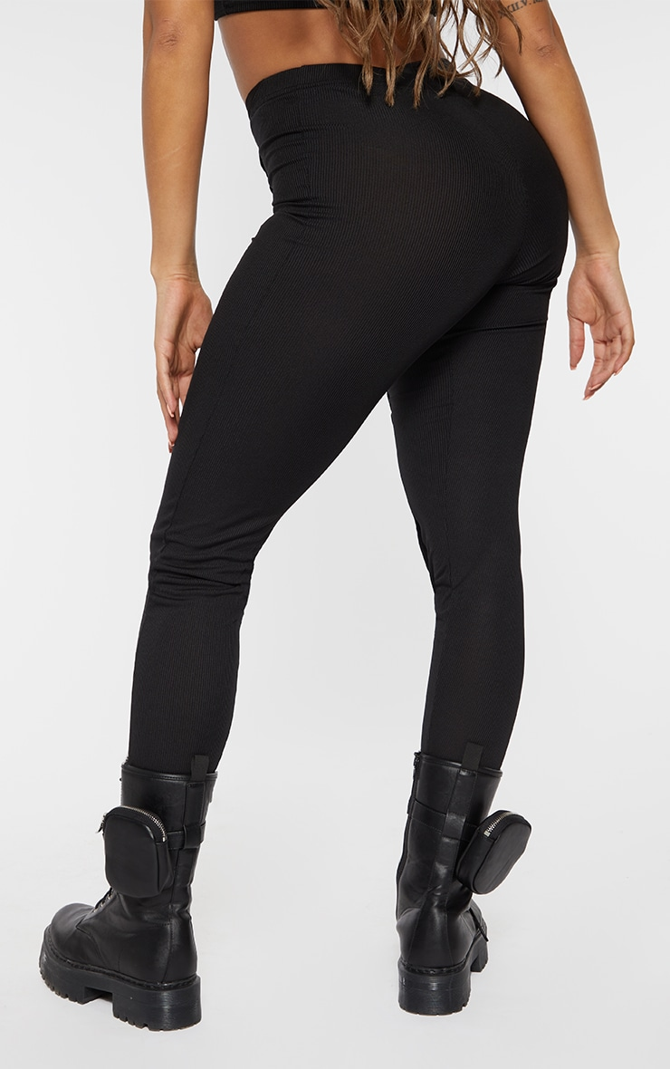 Shape Black Rib Mesh V Front Seam Detail Leggings 3