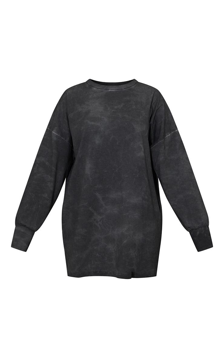 Charcoal Long Sleeve Tie Dye T Shirt Dress 5