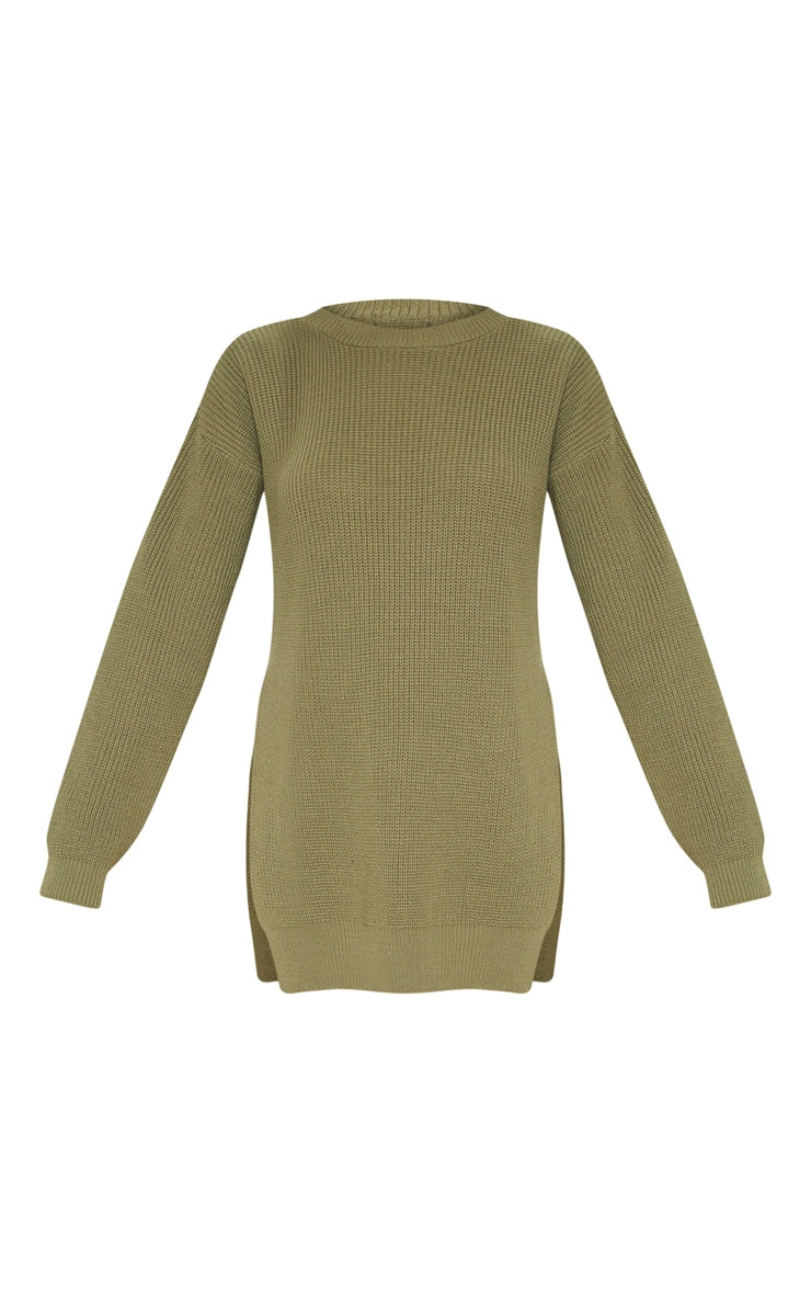 Rexx Khaki Round Neck Side Split Sweater 3