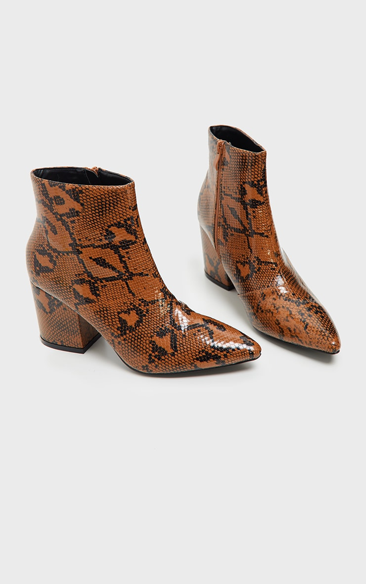 Snake Low Block Heel Point Ankle Boot 3