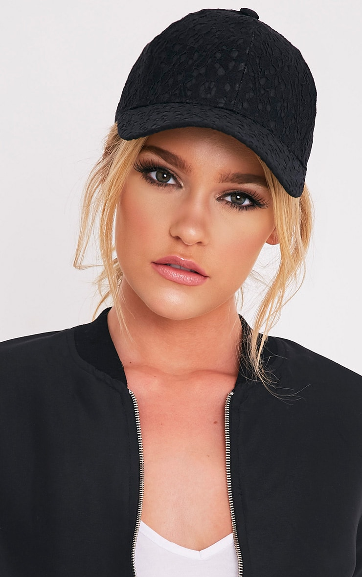Kalisha Black Lace Detail Baseball Cap 2