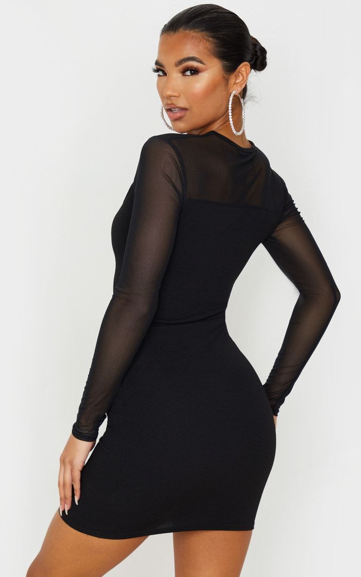 Black Mesh Bodice Cut Out Long Sleeve Bodycon Dress 2