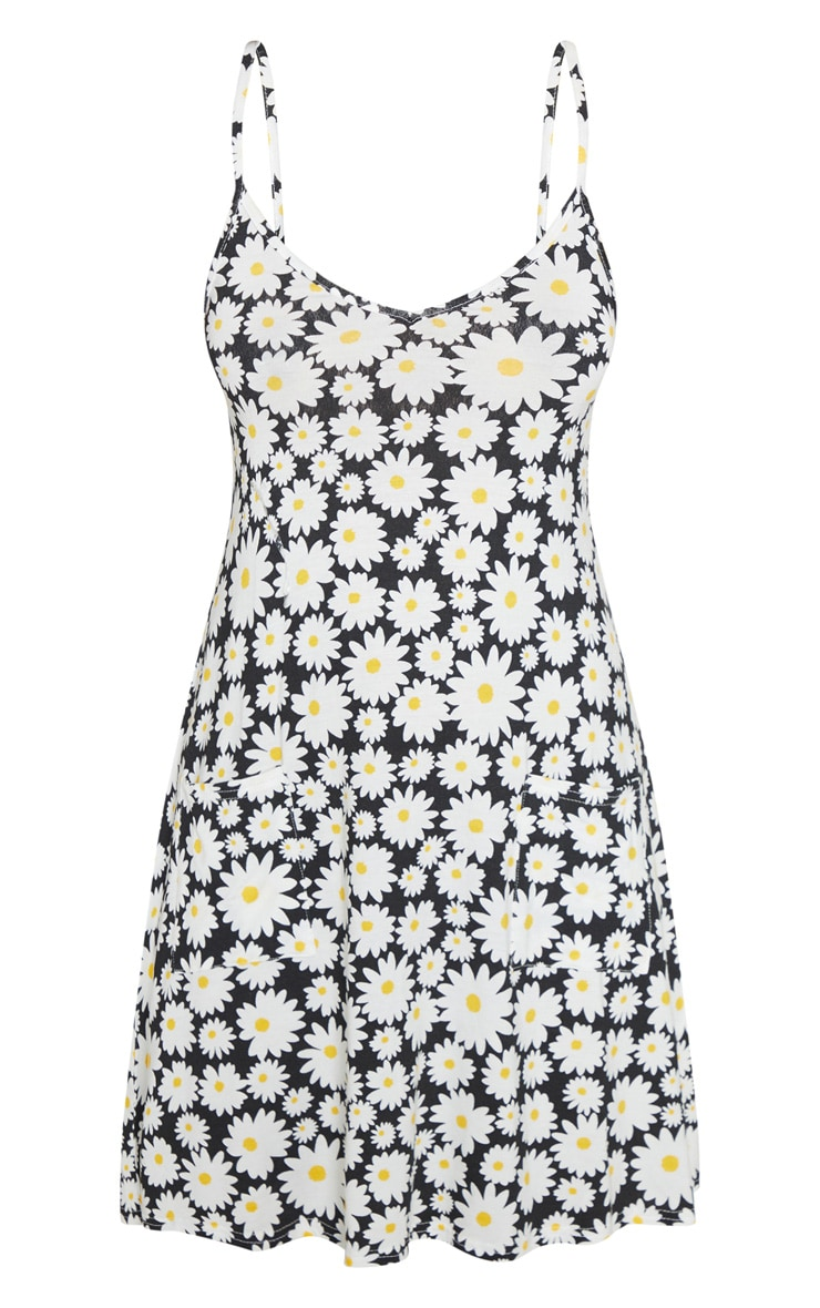 Black Daisy Floral Print Pocket Front Swing Dress 3